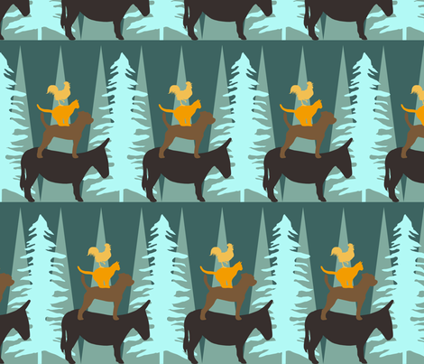 The Bremen Town Musicians fabric by lauradejong on Spoonflower - custom fabric