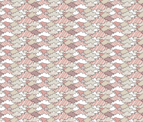 If By Air - In Flight, Clouds (Pink) fabric by ttoz on Spoonflower - custom fabric