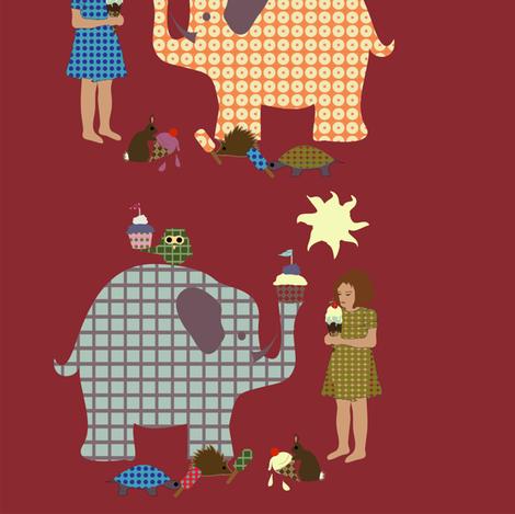 ice cream social - red fabric by krihem on Spoonflower - custom fabric