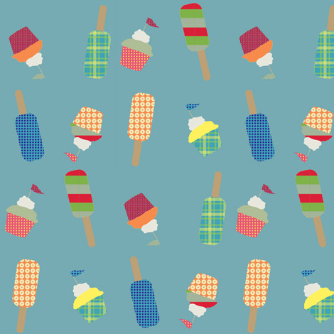 cupcake cutie - blue fabric by krihem on Spoonflower - custom fabric
