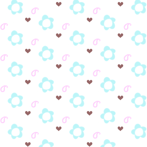 Popbi! - Brightbluesky - Paisley Floral! - © PinkSodaPop 4ComputerHeaven.com  fabric by pinksodapop on Spoonflower - custom fabric