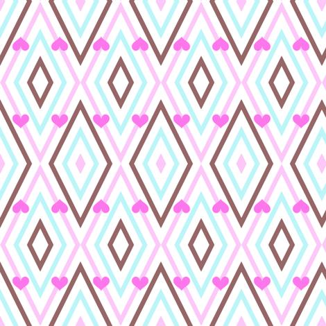 Popbi! - Brightbluesky - Diagonal Heart Striped! - © PinkSodaPop 4ComputerHeaven.com  fabric by pinksodapop on Spoonflower - custom fabric