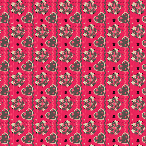 Pink Brown Heart fabric by eppiepeppercorn on Spoonflower - custom fabric