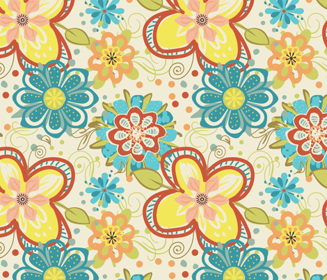 Big ole flowers fabric by christy_kay on Spoonflower - custom fabric