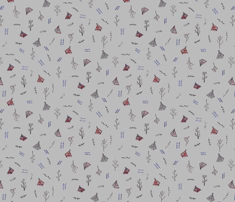 climbing trees - grey fabric by tinyhappy on Spoonflower - custom fabric