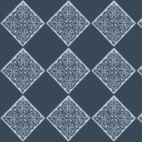 Japanese Fabric Stamp Diamond_indigo fabric by mina on Spoonflower - custom fabric