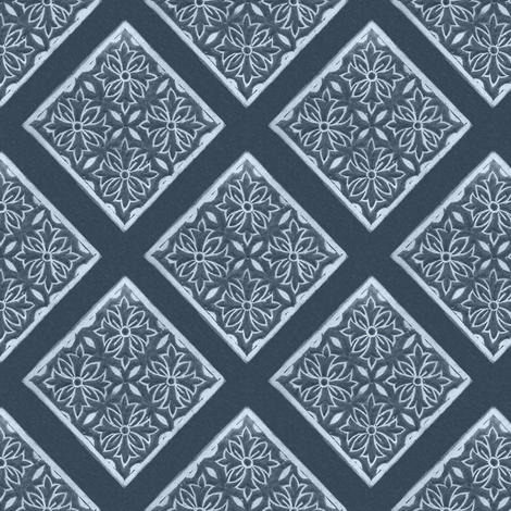 Japanese-fabric-stamp-diamond-diagonal-repeat-INDIGO fabric by mina on Spoonflower - custom fabric