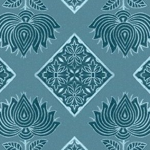 Japanese-fabric-stamp-flower-diamond--TURQUOISE