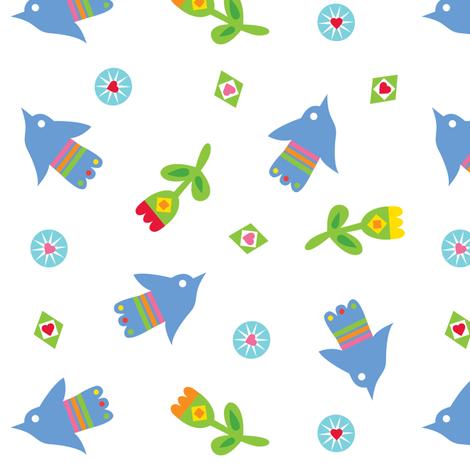 Tulips and Birds fabric by andibird on Spoonflower - custom fabric