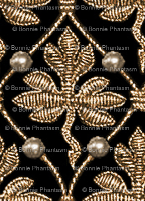 Elizabeth I. Phoenix Portrait Fabric- Black/Gold - With Pearls
