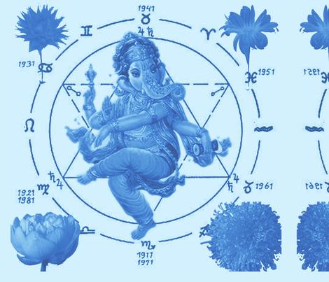 Ganesh Flowers fabric by sduhau on Spoonflower - custom fabric