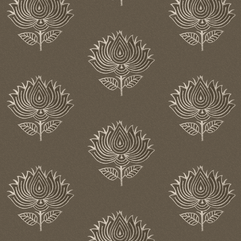 Japanese fabric stamp flower BROWN fabric by mina on Spoonflower - custom fabric