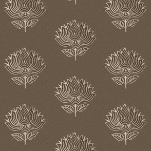 Japanese fabric stamp flower BROWN