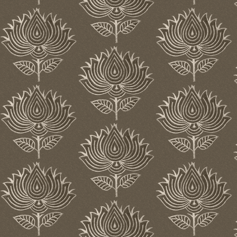 Japanese Fabric Stamp Flower_close_brown fabric by mina on Spoonflower - custom fabric