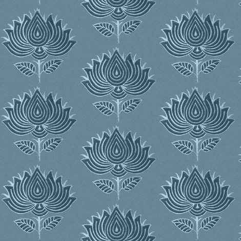 Japanese Fabric Stamp Flower_close_turquoise-blue fabric by mina on Spoonflower - custom fabric