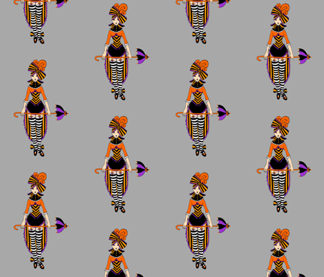 Dark Victorian Circus Girl fabric by beesocks on Spoonflower - custom fabric