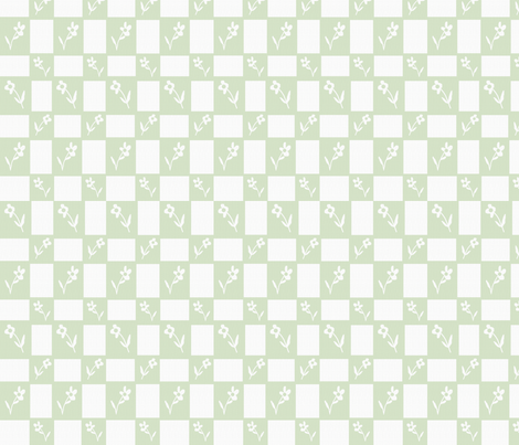 Little Hen Flower Check Green fabric by cilla on Spoonflower - custom fabric