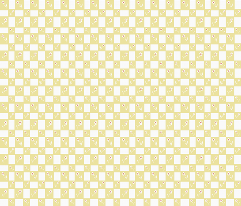 Little Hen Flower Check Yellow fabric by cilla on Spoonflower - custom fabric