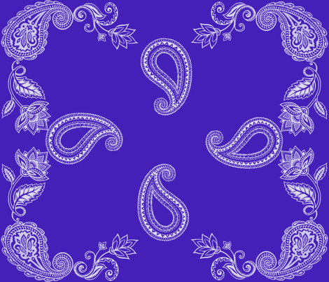 White Paisley on Cobalt fabric by crypticfragments on Spoonflower - custom fabric
