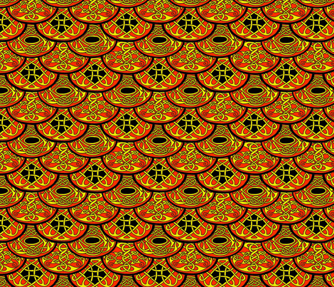 Celtic Clouds red yellow black fabric by ingridthecrafty on Spoonflower - custom fabric
