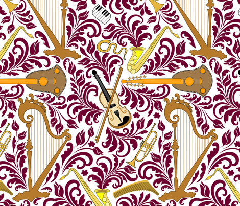 Music_dark_pink fabric by andrea11 on Spoonflower - custom fabric