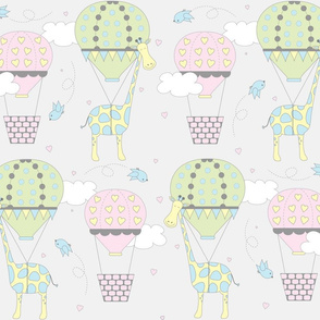Hot Air Balloon Giraffes Pink Blue and Green