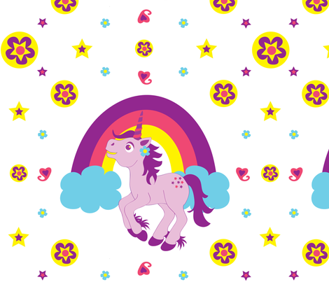 Purple Unicorn fabric by jenniferfranklin on Spoonflower - custom fabric