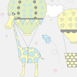 Hot Air Balloon Giraffes |  Blue Green and Yellow