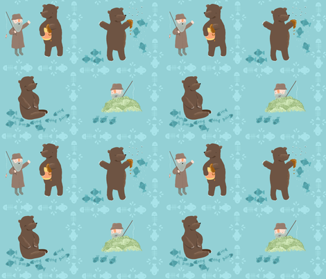 Folktales: The Fisherman and the Bear fabric by marloesdevries on Spoonflower - custom fabric