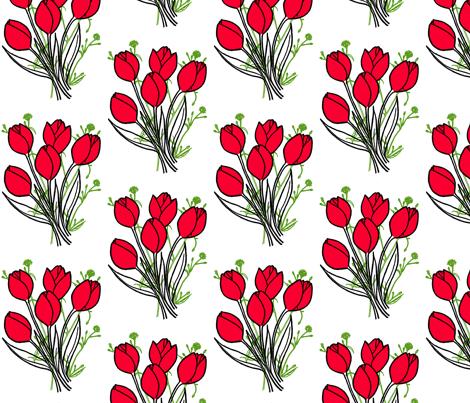 red tulips fabric by caresa on Spoonflower - custom fabric
