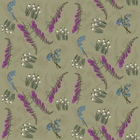 Kitty Jay - Scattered Flowers (brown) fabric by woodledoo on Spoonflower - custom fabric