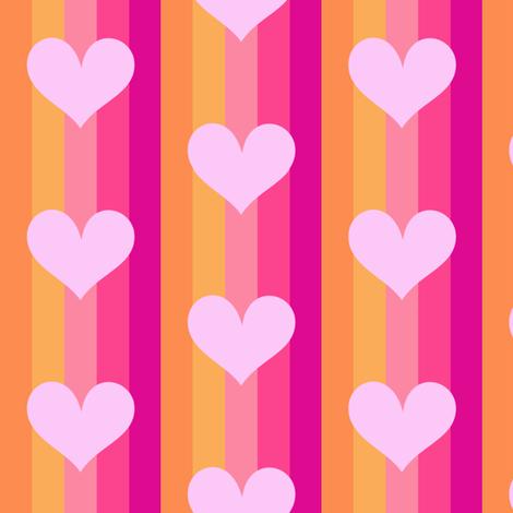Popbi! - Sugarbaby - Striped Big Hearts - © PinkSodaPop 4ComputerHeaven.com  fabric by pinksodapop on Spoonflower - custom fabric