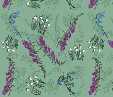 Kitty Jay- Scattered Flowers (green) fabric by woodledoo on Spoonflower - custom fabric