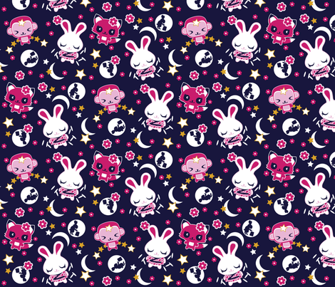 moonrabbit fabric by designcamp on Spoonflower - custom fabric