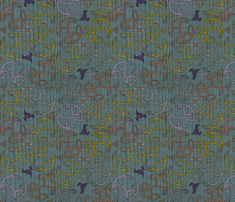 ©2011 Bird Motif - Dusty Teal fabric by glimmericks on Spoonflower - custom fabric