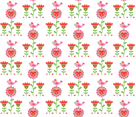 Happy Birds and Hearts fabric by andibird on Spoonflower - custom fabric