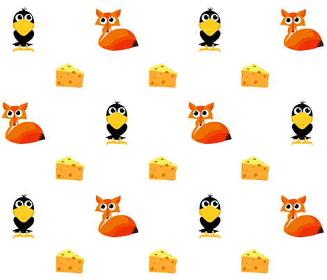 Fox and Crow fabric by bibmababy on Spoonflower - custom fabric