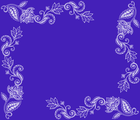 Lotus and Paisley in Cobalt fabric by crypticfragments on Spoonflower - custom fabric