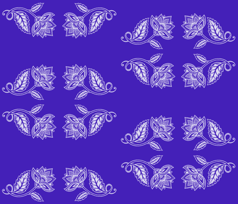 White Lotus on Cobalt fabric by crypticfragments on Spoonflower - custom fabric
