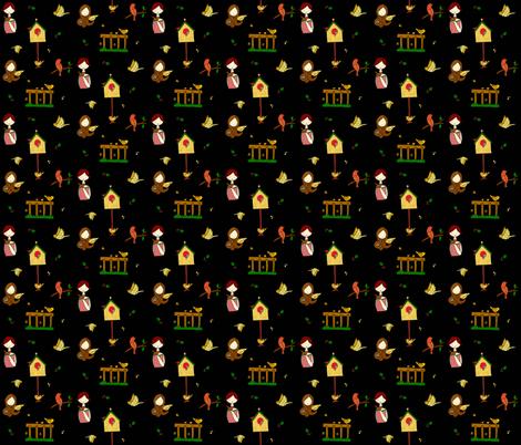 Birds black fabric by quemona! on Spoonflower - custom fabric