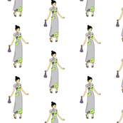 Manga Style Japanese Girl clip art in Lilac