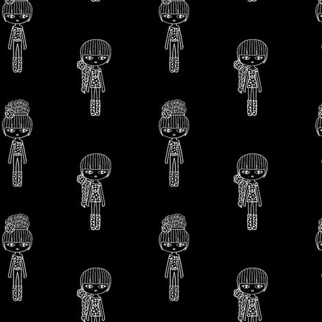 fashion girl black & white small fabric by sawabona on Spoonflower - custom fabric