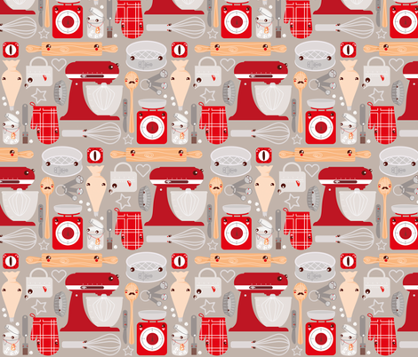 Baking stuff fabric by verycherry on Spoonflower - custom fabric