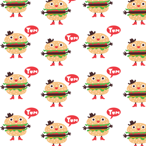 Hamburger Cowboy fabric by andibird on Spoonflower - custom fabric