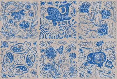 Palace Garden | Lapis Lazuli Woodblock Tile