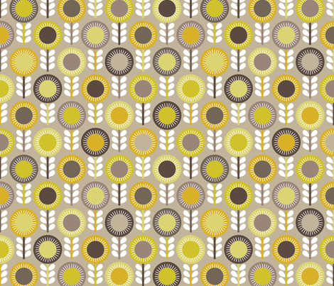 Flower Scales gold-grey multi fabric by kayajoy on Spoonflower - custom fabric