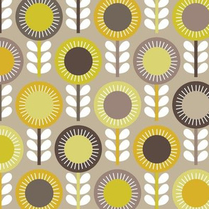Flower Scales gold-grey multi