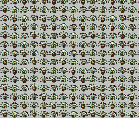 peacock on periwinkle grey fabric by molipop on Spoonflower - custom fabric