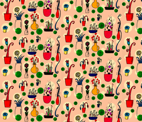 potted_oddities_pink fabric by mimi&me on Spoonflower - custom fabric