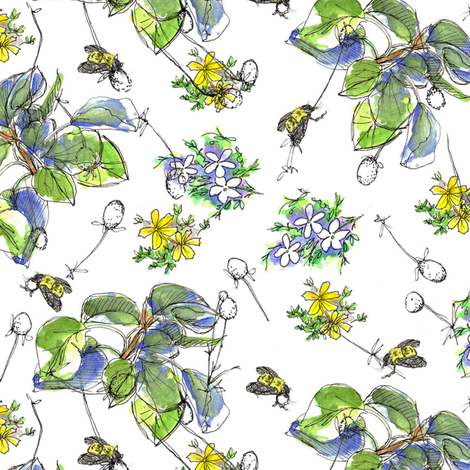 Bees and Leaves fabric by countrygarden on Spoonflower - custom fabric